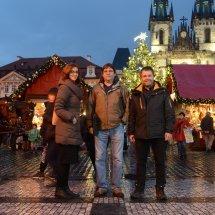 Kateřina Hájková (Marketing), national artist Josef Lada and Jakub Olbert (CEO) on the Old Town Square, Prague